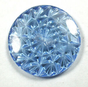"Vintage Depression Era Glass Button Pretty Blue w Back Mold Design 1""  Lovely!"