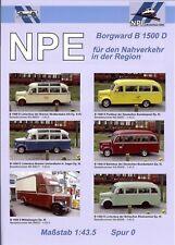 NPE Prospekt: 1:43,5 Spur 0 - Borgward 1500 D Busse, B 4500 D, Schlüter Traktor