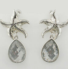 Coastal Silver STARFISH & Crystal Pear DROP Sea Life Dangle Earrings NWT New