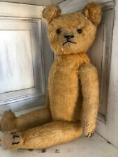 """Antique 17"""" Gold Short Mohair Teddy Bear Jointed Shoe Button Eyes Hump Back 1921"""