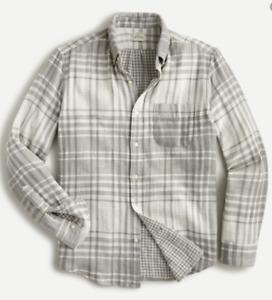 New J CREW Mens Soft Double Weave Grey Plaid Button Front Shirt L $80 Free Ship
