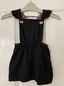 Baby Girls Stunning Black Pinafore Dress Zara 9-12m