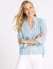 M&S Pure Cotton Striped Long Sleeve Blouse Size-12