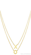 """14k Yellow Gold  """"X"""" & """"O"""" On Single Into Double Strand  Necklace"""