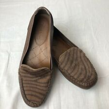 Bare Traps Adana Loafer 7.5M Brown Leather Animal Print Driving Moccasin