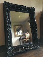 BLACK 6FT X 4FT LARGE FRENCH LEANER DRESS SHABBY CHIC WOOD WALL MIRROR