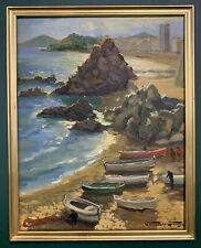 Mid Century Post Impressionist Oil On Board Painting In Gold Gilt Frame, Signed