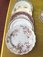5 Vintage Mismatched  DINNER PLATES Dark Pink Burgundy Roses blues, Wedding