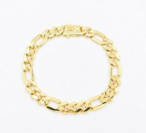 9mm Figaro Link Shiny Bracelet Monaco Chain Real 10K Yellow Gold 8.25""