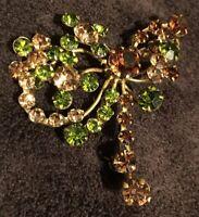 Vintage Austrian Crystal Rhinestone Brooch Pin GORGEOUS! Stamped Made In Austria