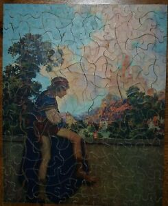 RARE 1920'S VINTAGE MAXFIELD PARRISH PUZZLE QUEEN'S PAGE COMPLETE A+ CONDITION