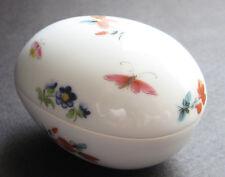 Vintage Leclair Limoges Porcelain Egg Trinket Box France ~ Flowers Butterflies