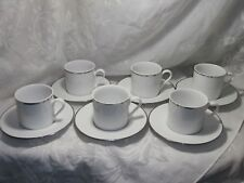 DANSK TAPESTRIES WHITE WITH PLATINUM RIM CUPS & SAUCERS SET OF 6