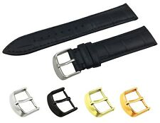 Black Real Leather Croco Strap Band fit LONGINES Watch Buckle 18 19 20 21 22mm
