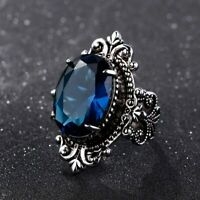 925 Silber Ring Vintage groß Oval Saphir Edelstein Unisex women silver rings Neu