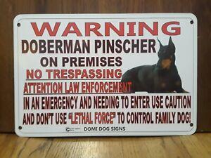 "Metal Warning Doberman Pinscher For FENCE ,Beware Of Dog 8""x12"""
