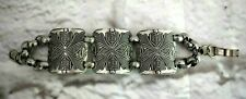 "Maltese Shield Look Panel Bracelet Silver Tone Chain 7.5"" Vintage"
