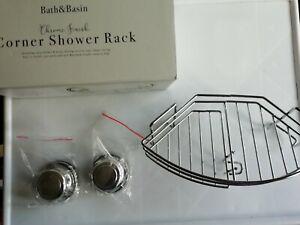 Corner shower rack , including razor holder & hook chrome finish