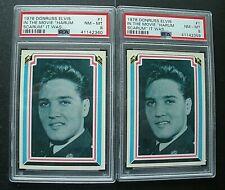 Lot of (2) 1978 Donruss Elvis Presley Card #1 Both Graded PSA 8 NM-MT