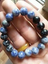 Blue Sodalite Snowflake Obsidian Stretch Bracelet * Zen Protection Amulet Luck *