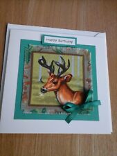 Deer Birthday card, handmade, fabric, British Wildlife, deer, stag, red deer
