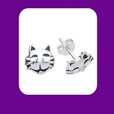 More details for silver cat face earrings 925 hallmark stud ladies studs boxed new