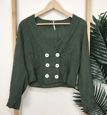Free People Forest Green Linen Top Size S Long Sleeve Crop V Neck Button Womens