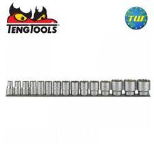 Teng Tools 15pc 1/2in Drive Metric Regular Socket Set Clip Rail 10-32mm M1215MM