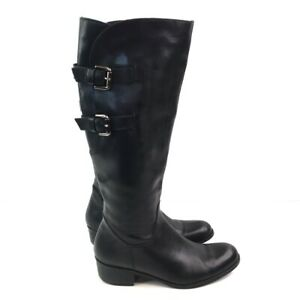 Sesto Meucci Black Leather Straps Half Zip Knee Heigh Riding Boots Womens 7