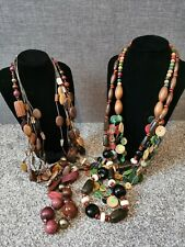 Chunky Boho Necklace Bundle Joblot Wooden Plastic Tribal Ethnic Beaded #17