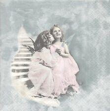 2 Serviettes en papier Anges Decoupage Paper Napkins Happy Angels Sagen Vintage