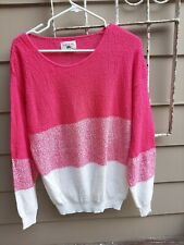 Vintage 80's womens sweater deep pink and white by Turtle Bay L /Xl?