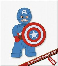 Lego Man Captain America Machine Embroidery Design. Super-Heroes Embroidery file