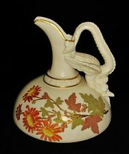 Royal Worcester Pitcher Ewer Dragon Handle Hand Painted Flowers, Circa 1889,1048