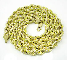 "30"" Inch 5.5mm 15 Grams Mens Ladies 10k Yellow Gold Rope Hip Hop Chain Necklace"