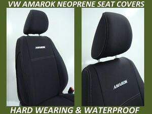 FITS VOLKSWAGEN AMAROK FRONT&REAR NEOPRENE SEAT COVERS FULL COVERAGE MAP POCKETS