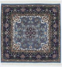 Teal Blue Fine Square Hand-Knotted New Kirman 3X3 Oriental Wool Area Rug Carpet