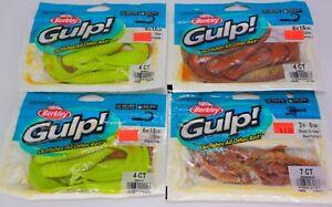 "Four 4-Packs Berkley Gulp Saltwater Baits, 3pks 6"" Grubs & 1pk 3"" Ghost Shrimp"