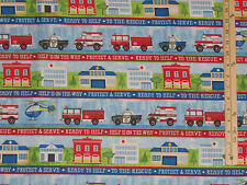 Help is on the Way Firemen Fire Truck Police Car Rescue by the 1/2 Yard   #82471