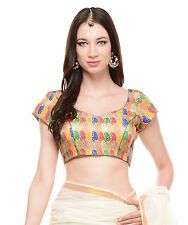 Beautiful Blouse - Stylish Evening Bohemian Gold Brocade Bollywood Style Top 38""