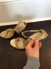 Rare Gucci By Tom Ford Gold Evening Shoe Sandals Strappy 7B