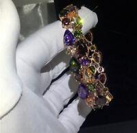 14k Rose Gold 6.5 inch Bracelet made w Swarovski Crystal Multicolor Stone Luxury