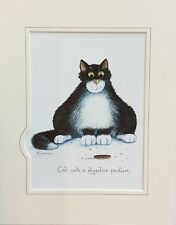 Cat with a digestive problem picture signed print by UK artist Mark Denman