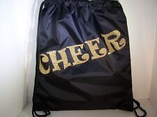 Cheer Bags | Liberty Drawstring | Black w/Gold Glitter Cheer Design | 20L x 17W