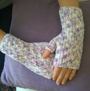 New Hand Knitted Wrist warmers or Fingerless gloves