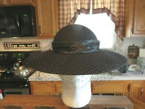 Vintage Miss BIERNER WOMENS WOOL HAT with NETTING & Large Bow  Made USA