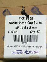 NEW BARNES M4-0.7 X 30MM SOCKET HEAD CAP SCREW 50PCS 495019