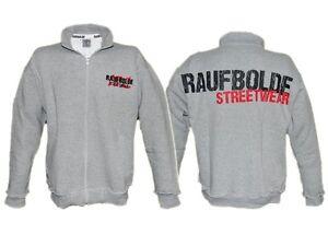 "Raufbolde Streetwear Stehkragenjack ""Nebel""  Übergröße 4XL Bodybuilding Hoodie"