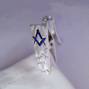 Napkin Clip Hook - Masonic Compasses and Square - Sterling Silver