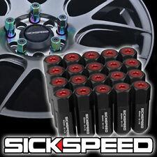 SICKSPEED 20 PC STEEL SET OF BLACK/RED CAPS 60MM LUG NUTS WHEELS 12X1.5 L07